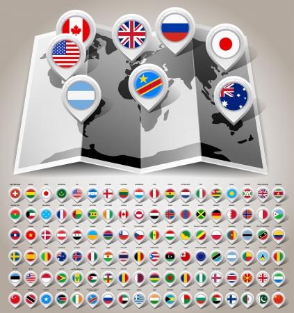 mapa de europa: Mapa del mundo con banderas
