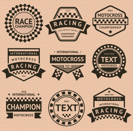 motor race: Racing insignia set, vintage stijl