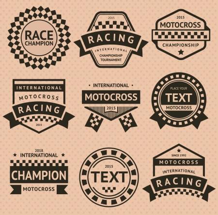 Racing insignia set, vintage style Illustration