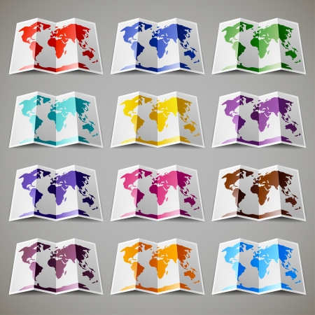 Set of twelve colored maps of the World Vector