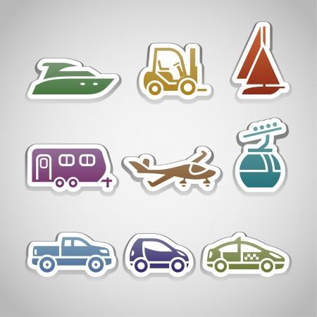transportation icon: flat retro color stickers