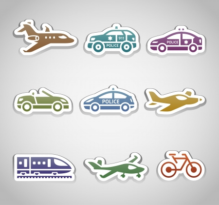 flat retro color stickers Vector