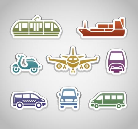 tramcar: flat retro color stickers