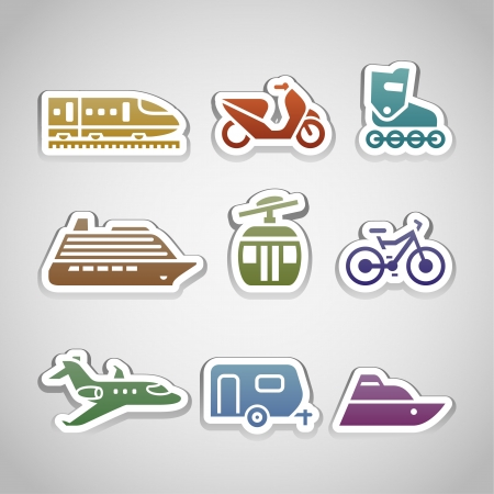 cableway: flat retro color stickers