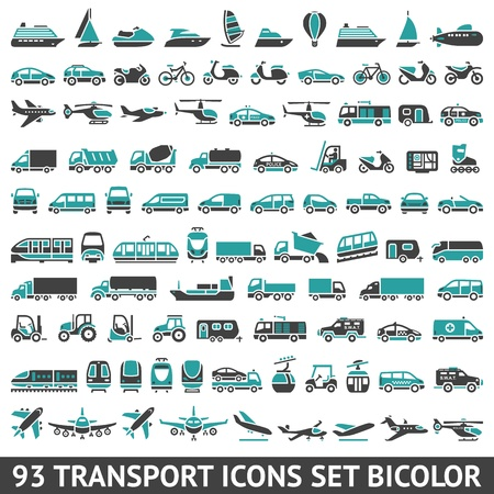 93 Transport icons set bicolor Stock Vector - 22161057