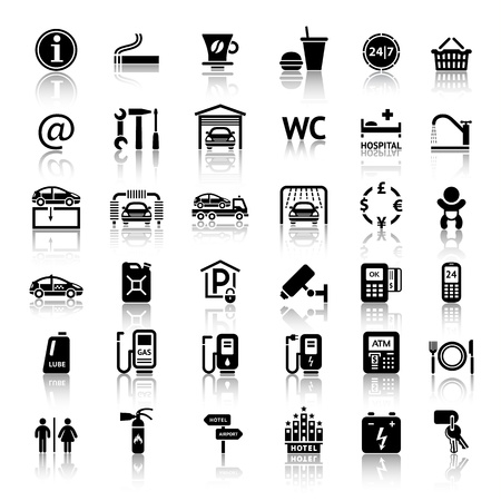 Car services and Repair 36 icons. Vector illustrations, silhouettes isolated on white background Vector