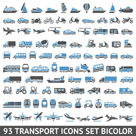transport: 93 Vervoer pictogrammen bicolor (blauwe en grijze kleuren), silhouetten op een witte achtergrond Stock Illustratie