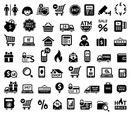wc: Einkaufen Symbole Illustration