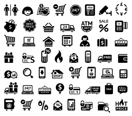 shopping cart online shop: Shopping icons Illustration
