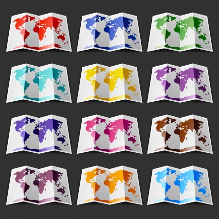 Set of twelve colored maps of the World, on blackground Vector