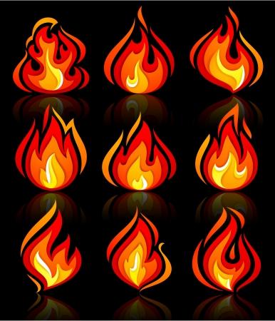 hape: Fiamme di fuoco nuovo set, con la riflessione su un blackground. Vector illustration