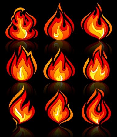 Fire flames new set, with reflection on a blackground. Vector illustration Illustration