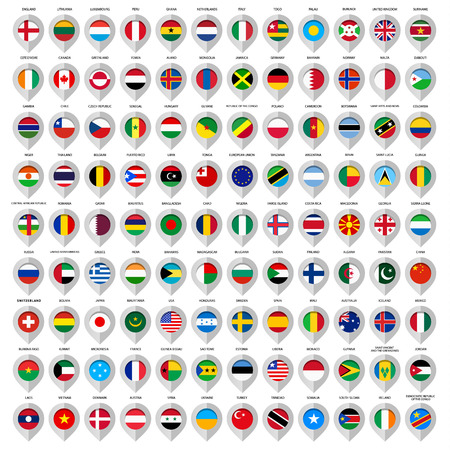 the flag: Map gray marker with flags. Country: European union, Argentina, Finland, Denmark, France, Austria, Switzerland, Greece, India, China, United Kingdom, Sweden, Usa, Italy, Ireland and many other. Illustration
