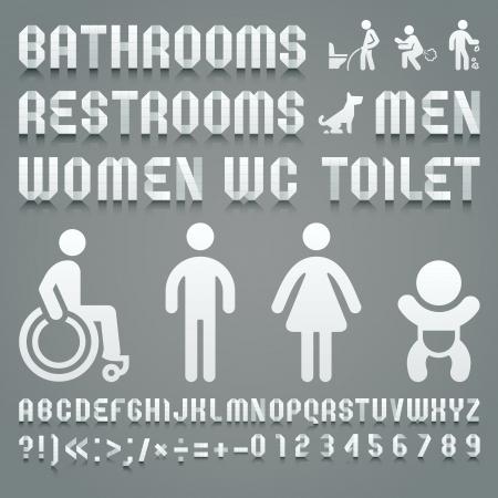 lavarse las manos: Alphabet plegado de papel higiénico y símbolos ws. Alfabeto romano (A, B, C, D, E, F, G, H, I, J, K, L, M, N, O, P, Q, R, S, T, U, V, W, X , Y, Z) y los números arábigos (0, 1, 2, 3, 4, 5, 6, 7, 8, 9). Vectores