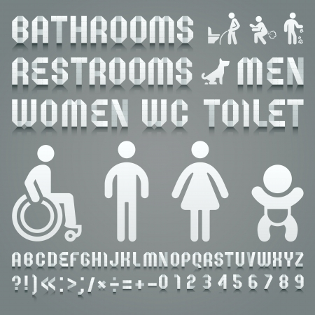 wc: Alphabet von Toilettenpapier und Symbole ws gefaltet. Römischen Alphabets (A, B, C, D, E, F, G, H, I, J, K, L, M, N, O, P, Q, R, S, T, U, V, W, X , Y, Z) und arabische Ziffern (0, 1, 2, 3, 4, 5, 6, 7, 8, 9).
