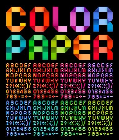 ruban noir: Alphabet spectrale plié de couleur de ruban de papier, sur un fond noir