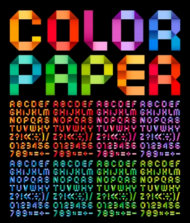 Spectral alphabet folded of paper ribbon colour, on a black background Vector