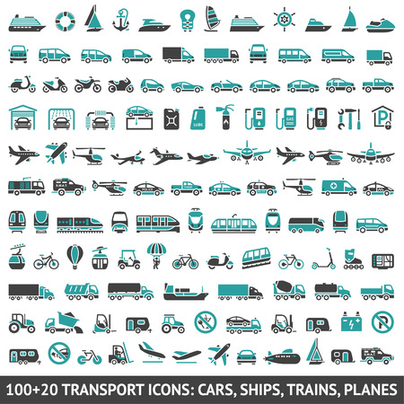 120 Transport icons, Vector