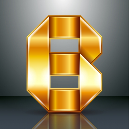 Font folded from a golden metallic ribbon - Letter B. Vector illustration Vector
