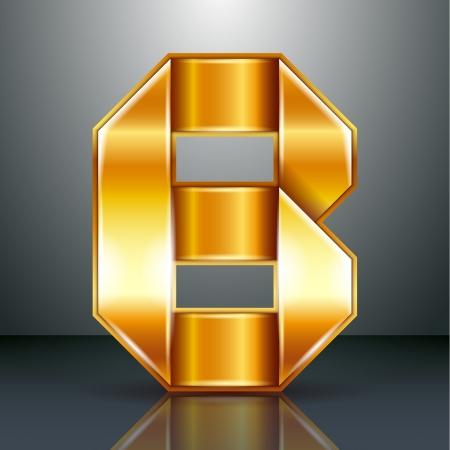 Font folded from a golden metallic ribbon - Letter B. Vector illustration Stock Vector - 22735484