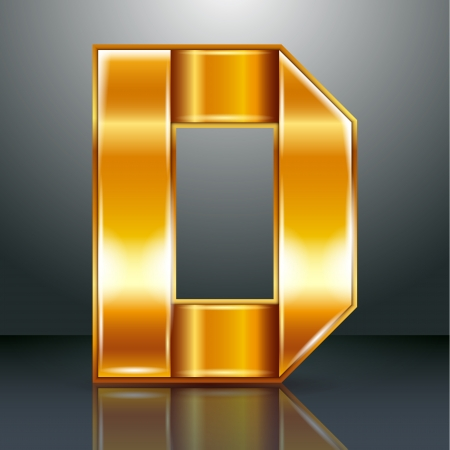 Font folded from a golden metallic ribbon - Letter D. Vector illustration  Vector