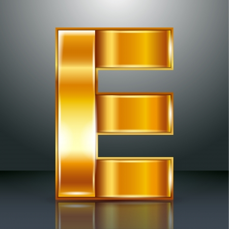 Font folded from a golden metallic ribbon - Letter E. Vector illustration  Stock Vector - 22735486