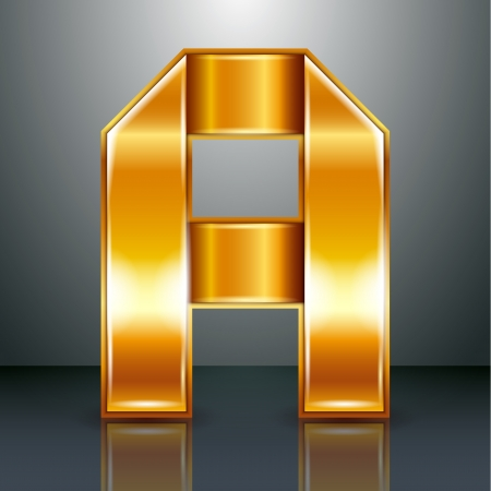 Font folded from a golden metallic ribbon - Letter A. Vector illustration .
