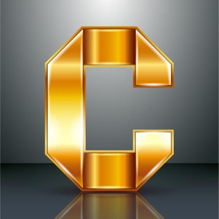 roman alphabet: Font folded from a golden metallic ribbon - Letter C. Vector illustration .
