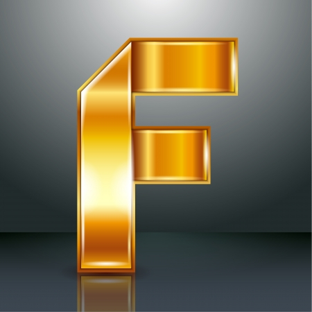 bronze texture: Font folded from a golden metallic ribbon - Letter F. Vector illustration .