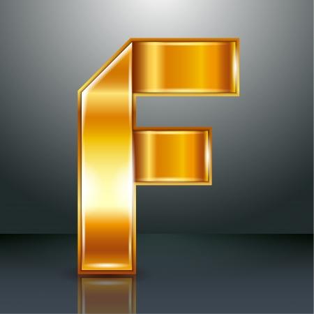 folded metallic tape: Font folded from a golden metallic ribbon - Letter F. Vector illustration .
