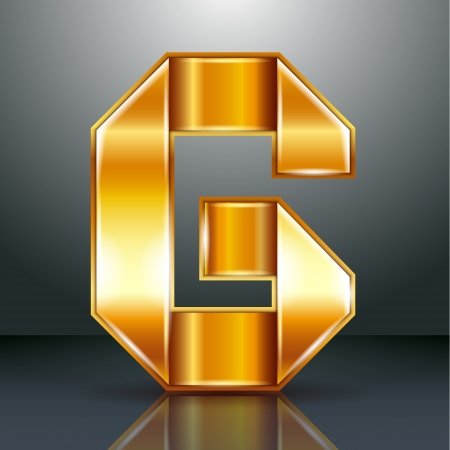 Font folded from a golden metallic ribbon - Letter G. Vector illustration . Vector