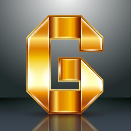 Font folded from a golden metallic ribbon - Letter G. Vector illustration . Stock Vector - 22735521