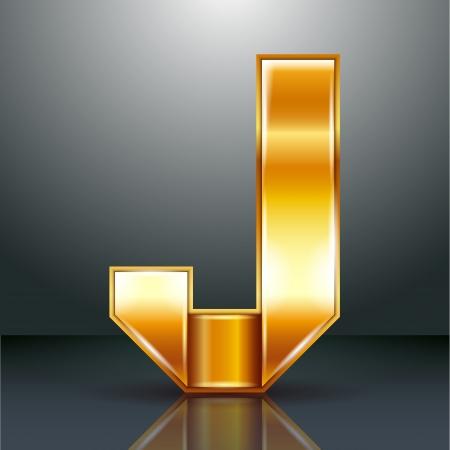 Font folded from a golden metallic ribbon - Letter J. Vector illustration . Stock Vector - 22735524