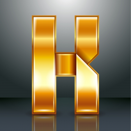Font folded from a golden metallic ribbon - Letter K. Vector illustration . Stock Vector - 22735532