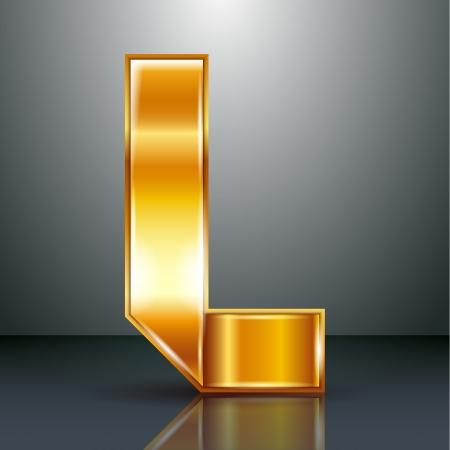 letter l: Font folded from a golden metallic ribbon - Letter L. Vector illustration . Illustration
