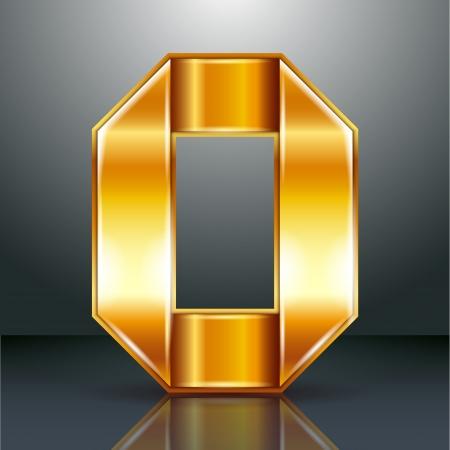 Font folded from a golden metallic ribbon - Letter O. Vector illustration . Stock Vector - 22735530
