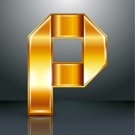 Font folded from a golden metallic ribbon - Letter P. Vector illustration . Vector