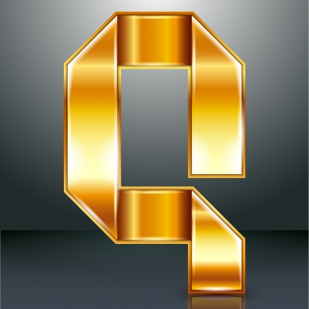 Font folded from a golden metallic ribbon - Letter Q. Vector illustration . Vector