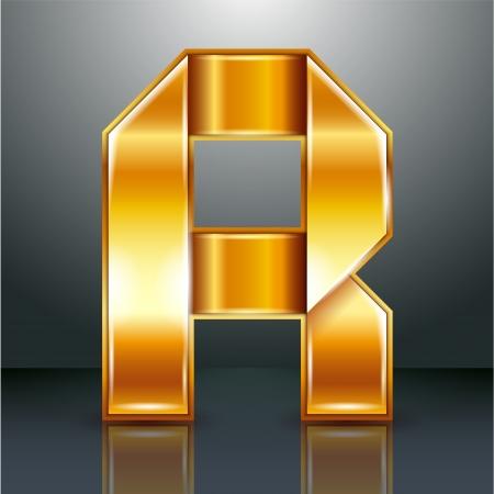 roman alphabet: Font folded from a golden metallic ribbon - Letter R. Vector illustration .