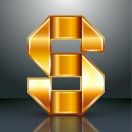 folded metallic tape: Font folded from a golden metallic ribbon - Letter S. Vector illustration .