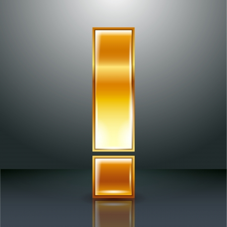 chromium: Font folded from a golden metallic ribbon - Exclamation mark. Vector illustration 10eps. Illustration