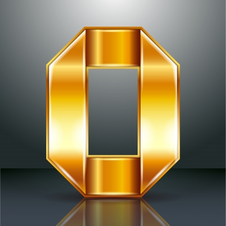copper magnet: Arabic numeral folded from a metallic perforated golden ribbon  - Number 0 - zero, vector illustration 10eps