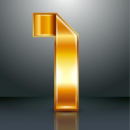 numero uno: Numeración árabe doblado de un metálica perforada cinta de oro - Número 1 - uno, ilustración vectorial 10eps Vectores