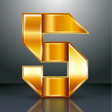 copper magnet: Arabic numeral folded from a metallic perforated golden ribbon  - Number 5 - five, vector illustration 10eps