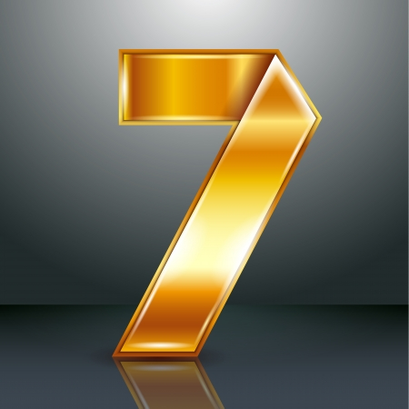 copper magnet: Arabic numeral folded from a metallic perforated golden ribbon  - Number 7 - seven, vector illustration 10eps