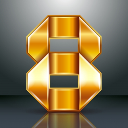 copper magnet: Arabic numeral folded from a metallic perforated golden ribbon  - Number 8 - eight, vector illustration 10eps
