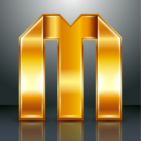 Font folded from a golden metallic ribbon - Letter M. Vector illustration 10eps. Vector