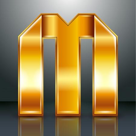 10eps: Font folded from a golden metallic ribbon - Letter M. Vector illustration 10eps.