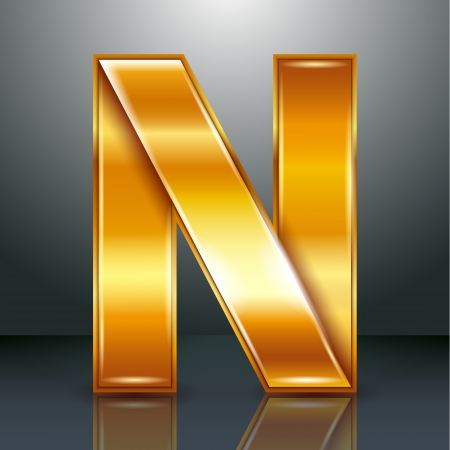 Font folded from a golden metallic ribbon - Letter N. Vector illustration 10eps. Vector