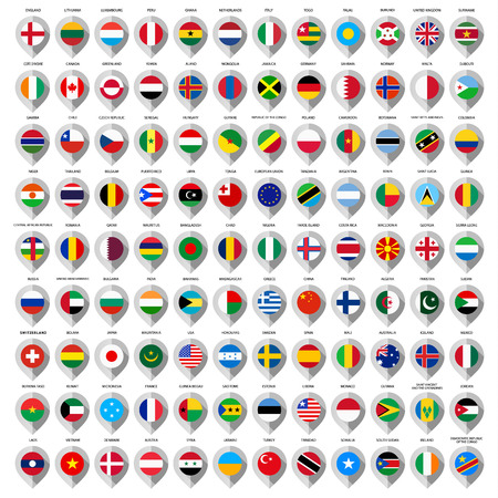 108 Map paper gray marker with flags. Big set Vector